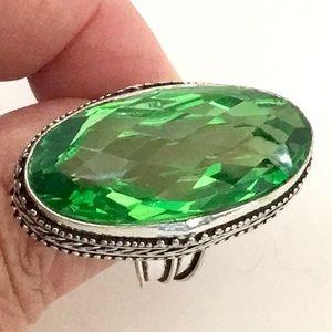 Peridot Gemstone Vintage Style Ring Brilliant Cut